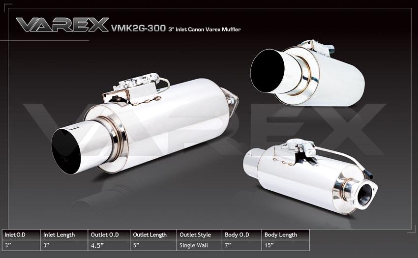 "Varex remote controlled muffler 3"" inlet, 4.5"" tip"